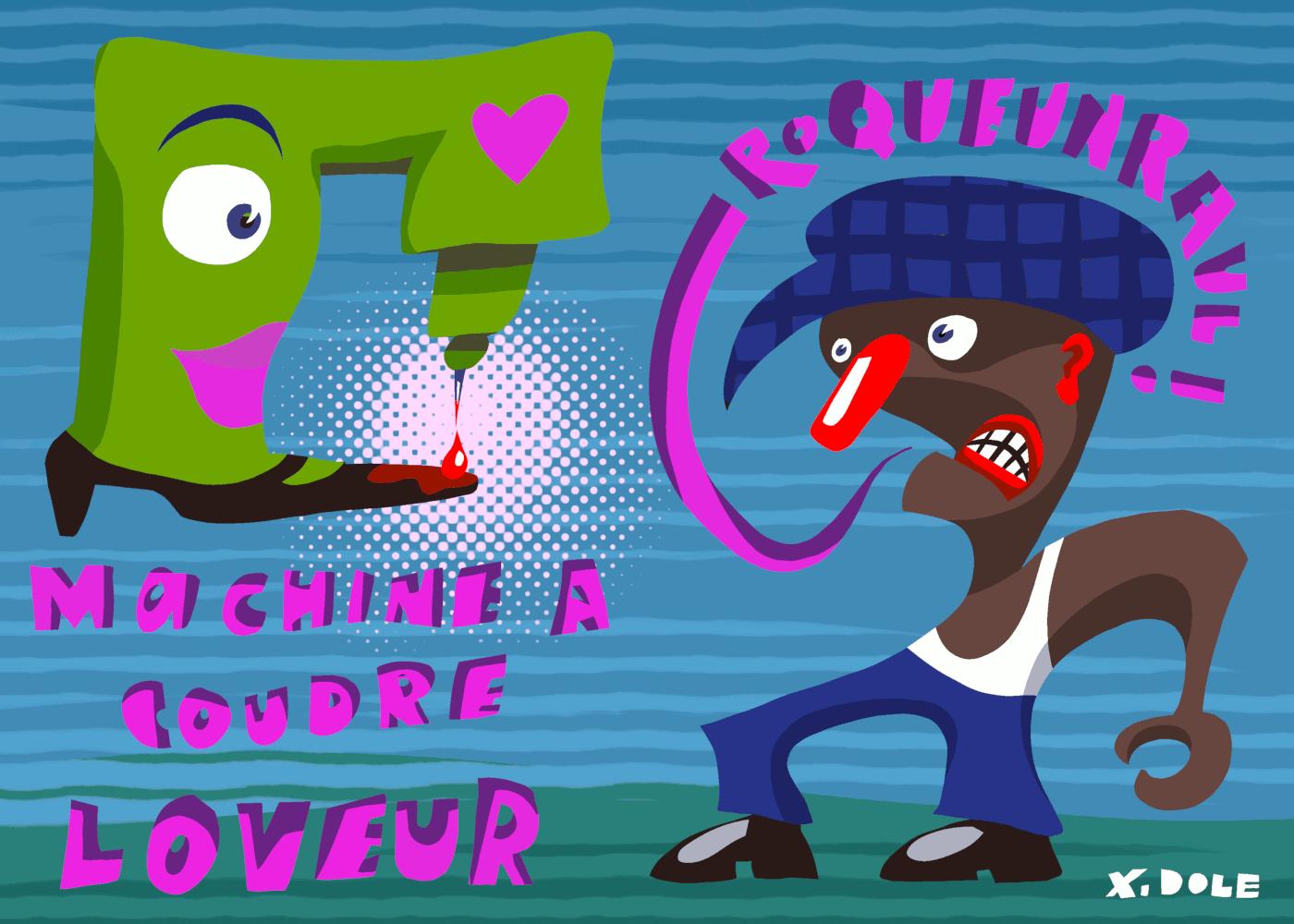 Machine à coudre Loveur – dessin Xavier Dole